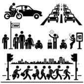Urban City Life Metropolitan Hectic Street Traffic Busy Rush Hour Man Stick Figure Pictogram Icon — Stock Vector