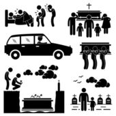 Man Funeral Burial Coffin Death Dead Died Stick Figure Pictogram Icon — Stock Vector