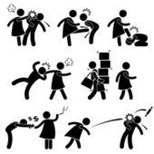 Abusive Wife Girlfriend Weak Husband Boyfriend Stick Figure Pictogram Icon — Stock Vector