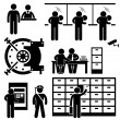 Bank Business Finance Worker Staff Agent Consultant Customer Security Stick Figure Pictogram Icon — Imagens vectoriais em stock