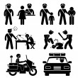 Police Station Policeman Motorcycle Car Report Interrogation Stick Figure Pictogram Icon - Vettoriali Stock