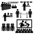 Cinema Theater Movie Moviegoers Film Man Stick Figure Pictogram Icon - Stok Vektör
