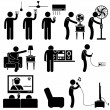 Stock Vector: Man Using Home Appliances Entertainment Leisure Electronics Equipments Stick Figure Pictogram Icon