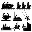 Amusement Theme Park People Playing Stick Figure Pictogram Icon - Vettoriali Stock