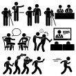 News Reporter Anchor Woman Newsroom Man Talk Show Host Stick Figure Pictogram Icon - Stock Vector