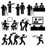 News Reporter Anchor Woman Newsroom Man Talk Show Host Stick Figure Pictogram Icon — Stock Vector