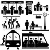 Pociąg podmiejskich stacji metra człowiek pasażerów kreska piktogram ikona — Wektor stockowy