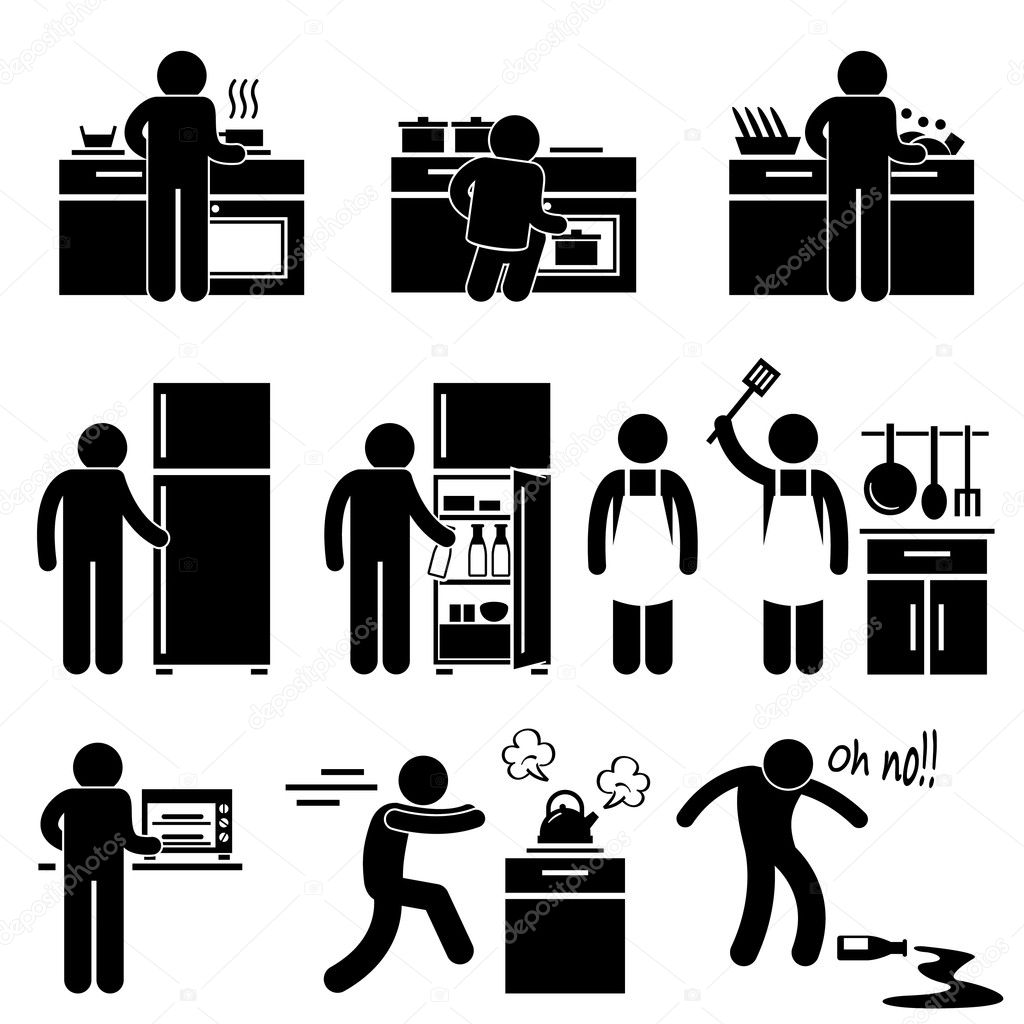 Man Cooking Kitchen Using Washing Equipment Stick Figure Pictogram