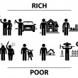 Rich and Poor Man Financial Differences Concept Stick Figure Pictogram Icon — Image vectorielle