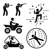Extreme Tough Game for Man Paintball Clay Shooting Rock Climbing Quad Biking Zorb Ball Sport Stick Figure Pictogram Icon — Stock Vector