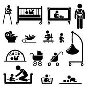 Baby Child Newborn Toddler Kid Equipment Stick Figure Pictogram Icon — Stock Vector