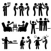 Cocktail Party Man Friend Gathering Enjoying Wine Beer Stick Figure Pictogram Icon — Stockvector