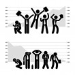 Businessman Business Winning Losing in Stock Market Graph Chart Stick Figure Pictogram Icon — Image vectorielle