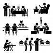 Restaurant Cafe Food Drink Candlelight Dinner Coffee Shop Japanese Sushi Korean BBQ Buffet Stick Figure Pictogram Icon — Vector de stock