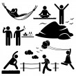 Stock Vector: MWomHealthy Living Relaxing Wellness Lifestyle Stick Figure Pictogram Icon
