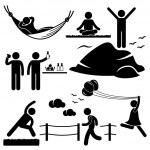 Постер, плакат: Man Woman Healthy Living Relaxing Wellness Lifestyle Stick Figure Pictogram Icon