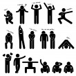 Man Person Basic Body Language Posture Stick Figure Pictogram Icon — Stock Vector