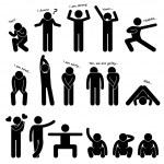 Man Person Basic Body Language Posture Stick Figure Pictogram Icon — Stock Vector