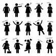 Woman Girl Female Person Basic Body Language Posture Stick Figure Pictogram Icon — Stock Vector