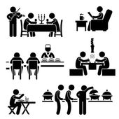 Restaurant Cafe Food Drink Candlelight Dinner Coffee Shop Japanese Sushi Korean BBQ Buffet Stick Figure Pictogram Icon — Vettoriale Stock