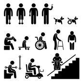 Geamputeerde handicap uitschakelen man gereedschappictogram apparatuur stok figuur pictogram — Stockvector