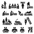 Vector de stock : MPerson Sex Social Group Text Word Stick Figure Pictogram Icon