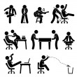 Employee Worker Staff Office Workplace Having Fun Playing Stick Figure Pictogram Icon — Stock Vector