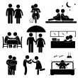Lover Couple Boyfriend Girlfriend Sweetheart Relationship Activity Stick Figure Pictogram Icon — Imagens vectoriais em stock