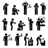 Hombre usando productos sanitarios pelo champú loción facial mascarilla corporal comiendo icono alimentos suplemento figura pictograma — Vector de stock