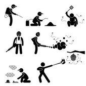 Exterminator Pest Control Stick Figure Pictogram Icon — Vetor de Stock