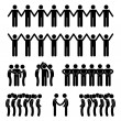 Man People United Unity Community Holding Hand Stick Figure Pictogram Icon - Stock Vector