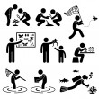 图库矢量图片: MOutdoor Activity Geologist Research Specimen Stick Figure Pictogram Icon