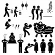 Chinese Asian China Religion Culture Tradition Stick Figure Pictogram Icon — Stock Vector