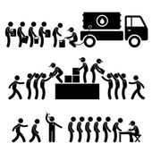 Government Helping Citizen Water Food Stock Supply Community Relief Support Stick Figure Pictogram Icon — Stock Vector