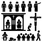 Christian Religion Culture Tradition Church Prayer Priest Pastor Nun Stick Figure Pictogram Icon — 图库矢量图片