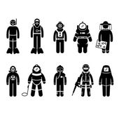Scuba Diving Dive Deep Sea Spacesuit Biohazard Beekeeper Nuclear Bomb Airforce SWAT Volcano Protective Suit Gear Uniform Wear Stick Figure Pictogram Icon — Stock Vector