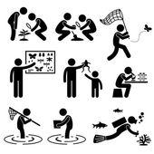 Man Outdoor Activity Geologist Research Specimen Stick Figure Pictogram Icon — Stock Vector