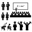 Student Lecturer Teacher School College University Graduate Graduation Stick Figure Pictogram Icon — Imagen vectorial