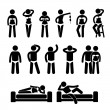 Sexy Lingerie Underwear Model Male Female Posing Poses Stick Figure Pictogram Icon - Stock Vector
