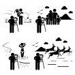 Wedding Family Model Wildlife Photographer Photography Stick Figure Pictogram Icon — Stock Vector