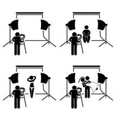 Photographer Studio Photography Shoot Stick Figure Pictogram Icon — Stock Vector