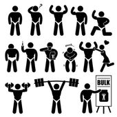 Body Builder Bodybuilder Muscle Man Workout Fitness Steroid Stick Figure Pictogram Icon — Stock Vector
