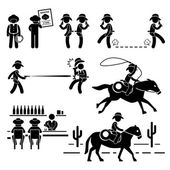 Cowboy Wild West Duel Bar Horse Stick Figure Pictogram Icon — Stock Vector
