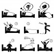 Stock Vector: Man People Sleeping Dreaming Sex Nightmare Snoring Walking Insomnia Waking Up Stick Figure Pictogram Icon