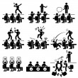 Judges Audition Singing Performance Talent Show Stick Figure Pictogram Icon — Stock Vector
