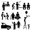 Kind Good Hearted Man Helping People Stick Figure Pictogram Icon — Векторная иллюстрация