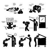 Homeless Man Family Beggar Jobless Stick Figure Pictogram Icon — Stock Vector
