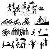 Triathlon Marathon Swimming Cycling Sports Running Stick Figure Pictogram Icon Symbol — Stock Vector