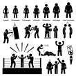 Boxing Boxer Stick Figure Pictogram Icon — Vettoriale Stock #33129827