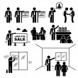 Property Agent Real Estate Client Customer Stick Figure Pictogram Icon — Vettoriali Stock